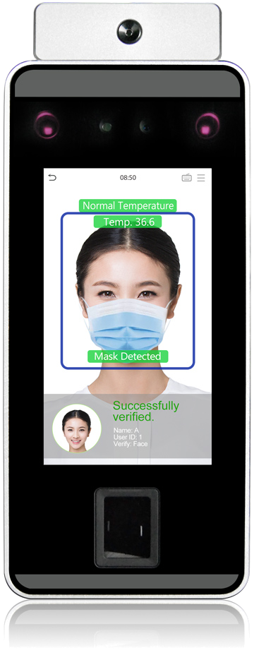 ZK Teco SpeedFace-V5L TD Facial recognition time & attendance and access control terminal with body temperature measurement and mask detection | Computime UK