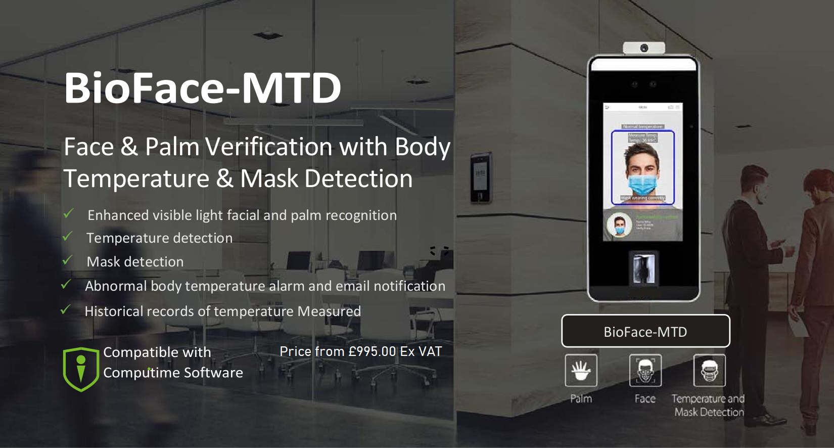 ZK Teco SpeedFace-V5L TD face recognition time & attendance and access control terminal with body temperature measurement and mask detection | Computime Systems UK